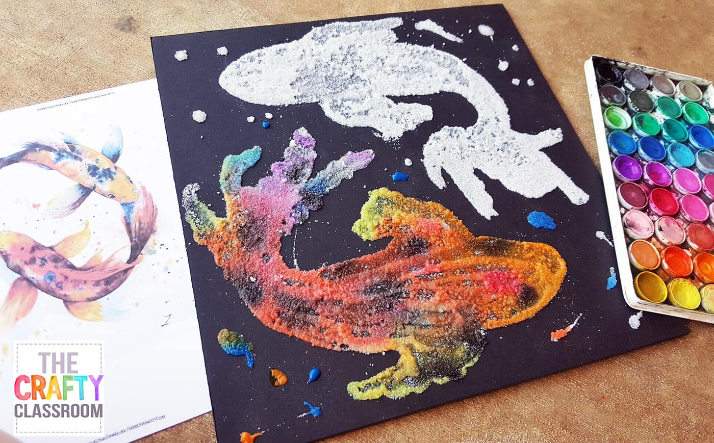 Koi watercolor art project for kids for Painting craft projects