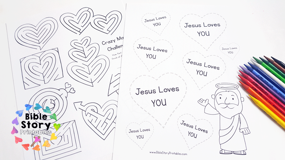Jesus loves me valentines day activity pack 7 full size scripture hearts you can print and place in your classroom or send home with children these make great coloring pages or cut outs to use on fandeluxe PDF