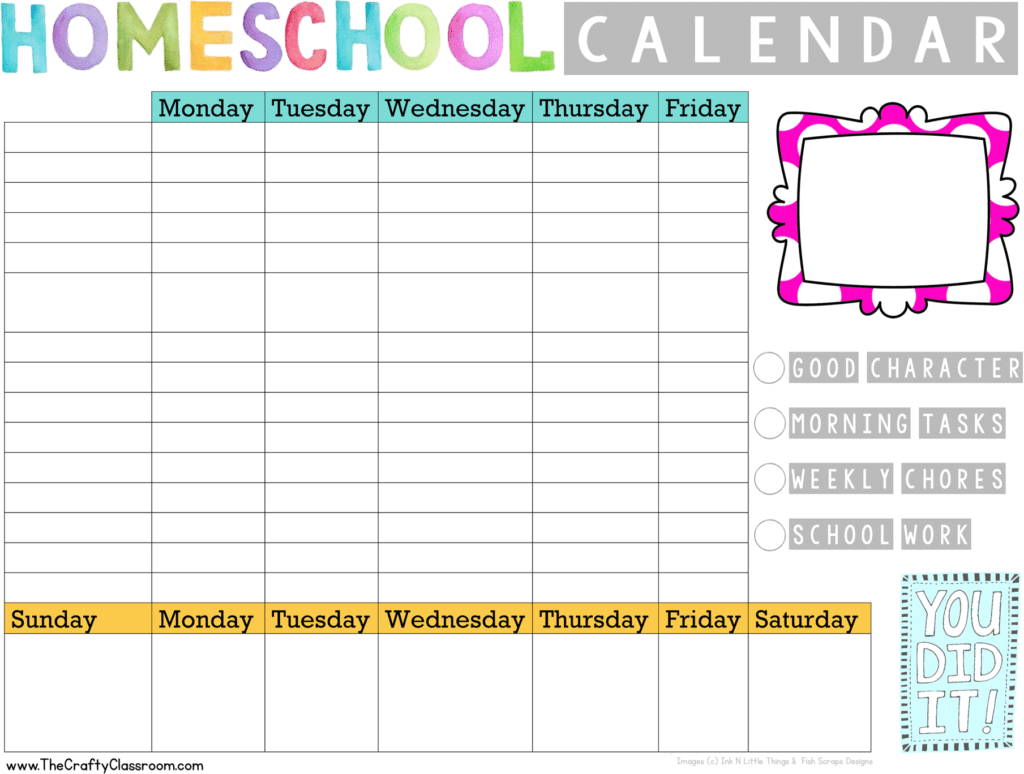 Free Simple Homeschool Planning Pack - The Crafty Classroom